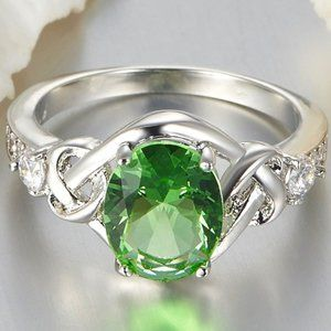 NWOT SZ7 18K White Gold Plated Green Amethyst Ring